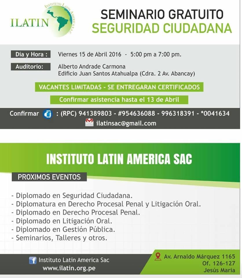 Seminario Gratuito - Seguridad Ciudadana
